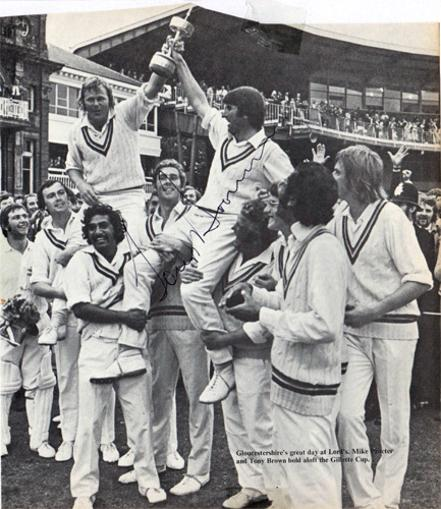 Gloucestershire-cricket-memorabilia-Tony-Brown-signed-1973-Gillette-Cup-champions-pic-photo-captain-mike-proctor-lords-final-player-of-the-match-gloucs-ccc