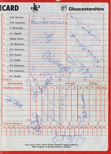 Gloucs-cricket-memorabilia-1983-Gloucestershire-CCC-John-Player-sunday-league-match-signed-scorecard-programme-autographs-chris-broad-zaheer-abbas-jack-russell