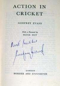 Godfrey-Evans-memorabilia-godfrey-evans-autograph-signed-autobiography-book-action-in-cricket-first-edition-kent-cricket-memorabilia-kccc-signature-1956