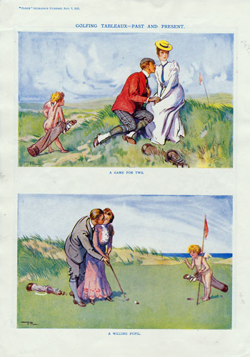 Golf memorabilia golfing memorabilia vintage golf Punch magazine print Frank Reynolds 1927 tableaux Past and Present Game for Two Willing Pupil 350