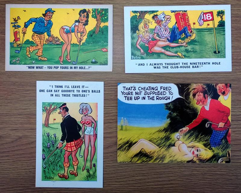 Golf-Memorabilia-Golfing-humour-Golf-Postcards-by-Pedro-sexy-saucy-risque-seaside-naughty-postcard