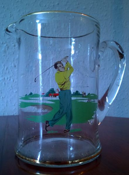 Golf-memorabilia-golfing-cocktail-set-1950s-large-glass-jug-pitcher-four-glasses-retro-vintage-cool-collectable-19th-hole-bar-brewiana