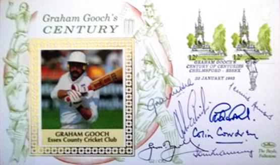 Graham Gooch autographed signed first day cover century of centuries essex cricket cowdrey hutton boycott hick edrich graveney