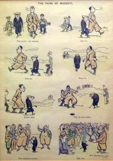 HM-Bateman-antique-vintage-golf-print-Pains-of-Modesty-Punch-magazine-1922-coloured-cartoon-charivari-golfing-golfer