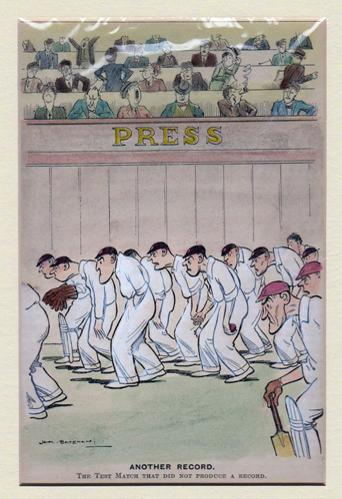 HM-Bateman-punch-magazine-cricket-cartoon-humour-Another-Record-The-test-match-that-did-not-produce-a-record-1930-press-box