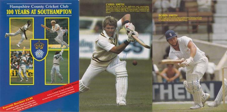 Hampshire-county-cricket-memorabilia-100-years-at-Southampton-souvenir-brochure-signed-Robin-Smith-autograph-Chris-Hants-ccc-1985