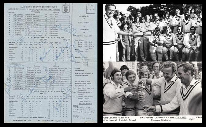 Hampshire-cricket-memorabilia-1973-county-champions-signed-scorecard-gloucs-barry-richards-autograph-gordon-greenidge-signature-hants-ccc