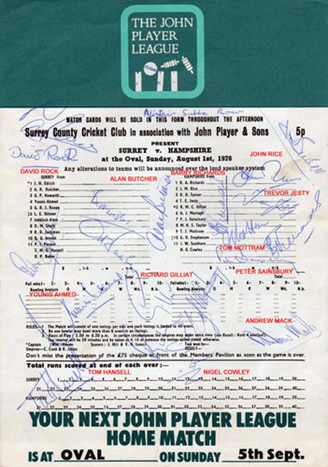 Hampshire-cricket-memorabilia-1976-Surrey-Hants-CCC-John-Player-sunday-league-match-signed-scorecard-Barry-Richards-Cowley-Jesty-Gilliat-rice-mottram-turner-autographs