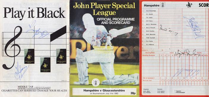 Hampshire cricket memorabilia 1983 Hants CCC John Player sunday league match signed scorecard programme autographs malcolm marshall paul terry cowley bournemouth