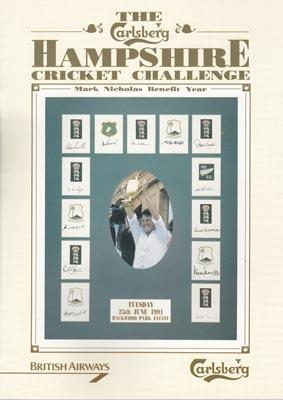 Hampshire-cricket-memorabilia-carlsberg-challenge-mark-nicholas-benefit-year-brochure-hackwood-park-1991-gents-v-players