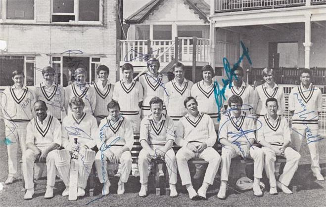 Hampshire-cricket-memorabilia-signed-team-photo-barry-richards-autograph-gordon-greenidge-richard-gilliat-sainsbury-turner-larry worrell-john rice-bob cottam-hants-ccc