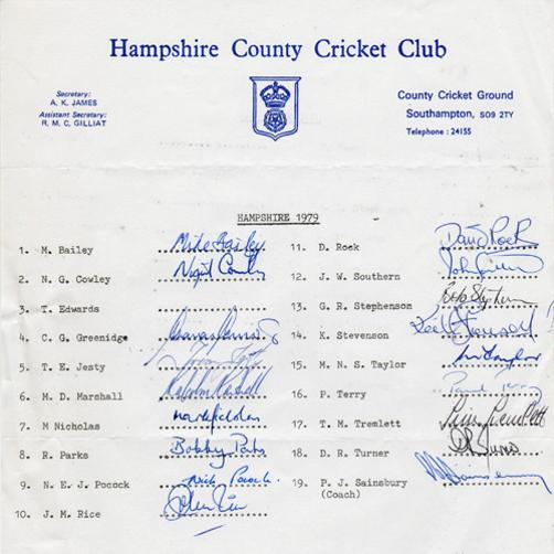 Hampshire-cricket-memorabilia-signed-team-sheet-hants-ccc-malcolm-marshall-autograph-gordon-greenidge-signature-mark-nicholas-terry-tremlett-jesty-rice-parks