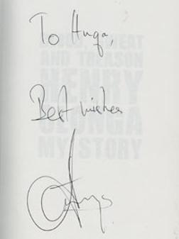 Henryn Olonga autograph signed book my story blood sweat and treason autobiography