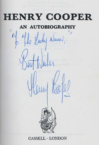 Henry-cooper-signed-boxing-memorabilia-autobiography-Sir-first-edition-1972-cassell-cover autograph