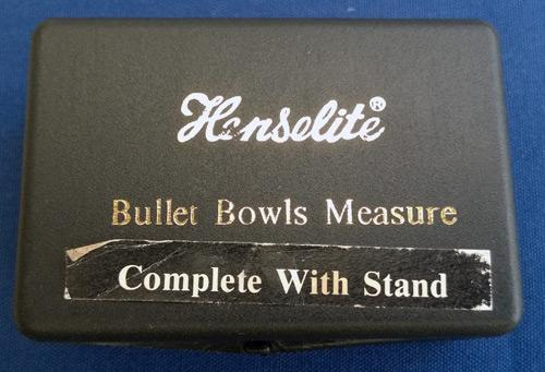 Henselite-Bullet-Bowls-measure-complete-with-stand-lawn-bowling-flat-green-measuring-calipers-device-box