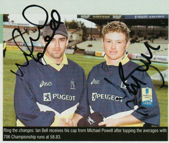 Ian-Bell-autograph-signed-England-cricket-memorabilia-Warks-CCC-Warwickshire-Bears-County-cap-michael-powell-captain