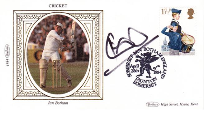 Ian-Botham-autograph-signed-england-cricket-memorabilia-durham-taunton-somerset-worcs-ccc-beefy-signature-sir-april-28th-1984-first-day-cover-benham-fdc