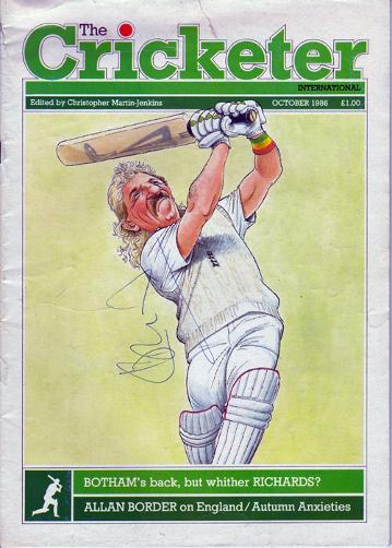 IAN BOTHAM hand-signed 1986 Cricketer mag cover  - John Ireland caricature.