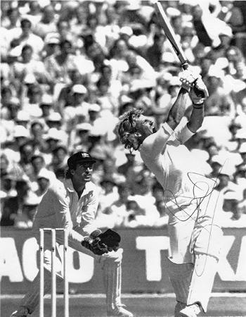 IAN BOTHAM Hand-signed black & white magazine pic