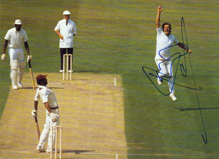 Ian Botham hand-signed cricket pic bowling against the West Indies.