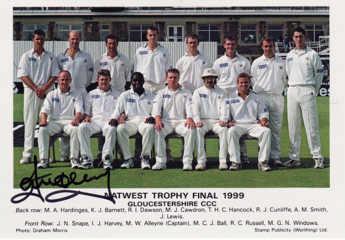 Ian-Harvey-autograph-Gloucestershire cricket-memorabilia Gloucs CCC signed-first day cover -FDC-Lords nat west trophy final australia all rounder signature team pic