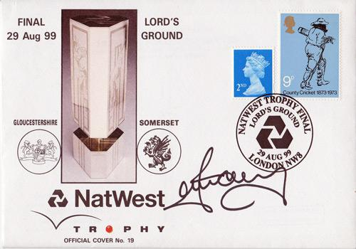 Ian-Harvey-autograph-Gloucestershire cricket-memorabilia-Gloucs CCC signed-first day cover -FDC-Lords nat west trophy final australia all rounder signature