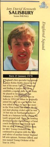 Ian-Salisbury-autograph-signed-Sussex-cricket-memorabilia-england-test-match-leg-spinner-bowler-surrey-CCC