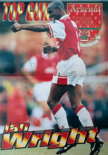Ian-Wright-Arsenal-signed-Arsenal-FC-football-poster-memorabilia-Wrighty-AFC-autograph-top-gunners