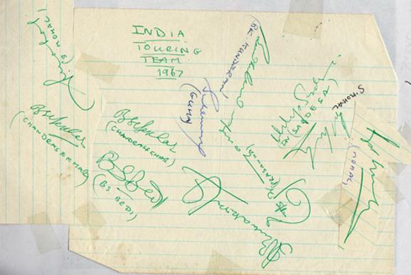India-cricket-memorabilia-signed-1967-team-sheet-tour-squad-bishan-bedi-autograph-BS-Bhagwath-Chandrasekhar-chandra-EAS-Erapalli-Prasanna-spinners
