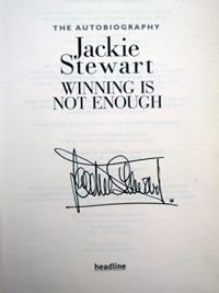 Sir JACKIE-STEWART-memorabilia-signed-autobiography-Winning-is-not-Enough-formula-one-memorabilia-autograph-signature