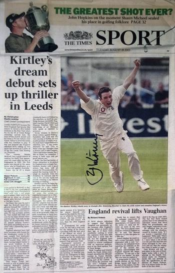 JAMES-KIRTLEY-autograph-signed Sussex-cricket-memorabilia-England-test match cricket-bowler