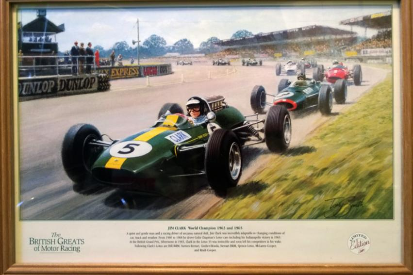 JIM-CLARK-print-signed-artist-Tony-Smith-BRITISH-GREATS-OF-MOTOR-RACING-SERIES-limited-edition-motor-racing-memorabilia-formula-one-memorabilia