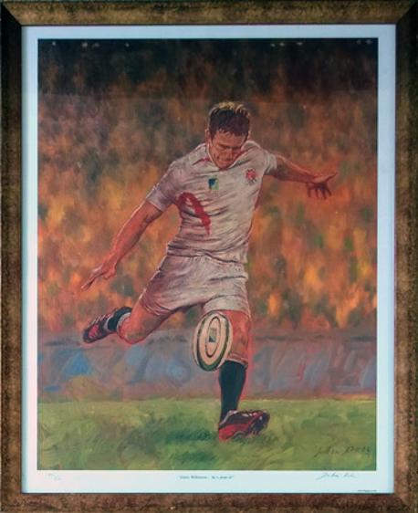 JONNY WILKINSON signed 2003 Rugby World Cup winning drop goal print limited edition Julian Kirk artist hes done it