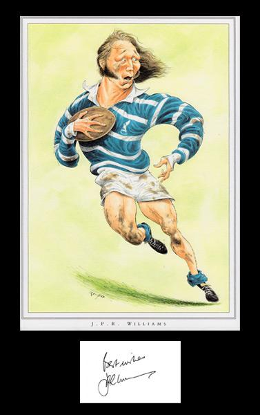 JPR-Williams-autograph-Wales-Rugby-memorabilia-John-Ireland-print-signed-book-plate-London-Welsh-union-British-Lions-doctor-caricature