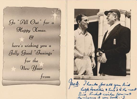 Jack-Warner-autograph-jack-warner-memorabilia-dixon-of-dock-green-signed-cricket-memorabilia-sir-len-hutton-memorabilia-xmas-christmas-card-The-Final-Test-1953