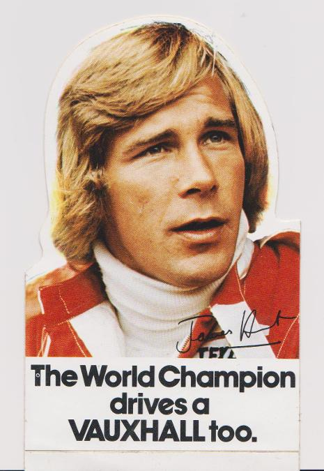 James Hunt autograph james hunt memorabilia motor racing memorabilia mclaren formula one world champion drive vauxhall sticker decal the shunt hesketh f1