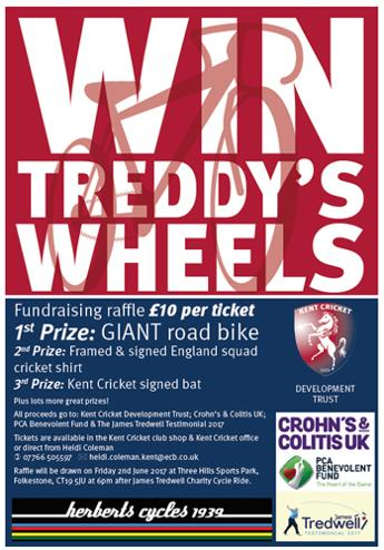 James Tredwell Treddy Testimonial Cycle Ride Giant Bike Raffle Flyer Win Herberts Kent Cricket Community