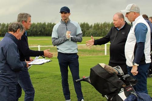 James-Anderson-Joe-Denly-testimonial-golf-day-Royal-St-Georges-first-tee-kevin-igglesden-paul-thorburn