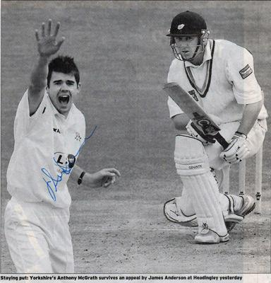 James-Anderson-autograph-signed-lancashire-cricket-memorabilia-lancs-ccc-England-test-match-leading-wicket-taker-jimmy-yorks-anthony-mcgrath-lbw-roses-match