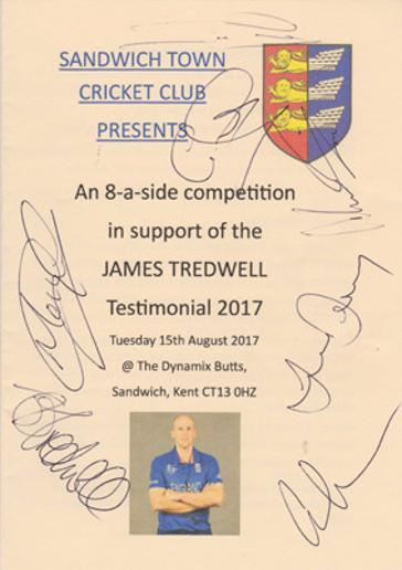James-Tredwell-memorabilia-Testimonial-2017-8-a-side-competion-Sandwich-town-Cricket-club-Kent-KCCC-signed-sam-northeast-autograph-geraint-jones-matt-coles-joe-denly