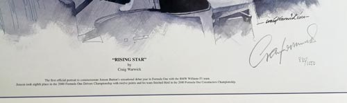 Jenson-Button-formular-one-motor-racing-memorabilia-BMW-Williams-poster-signed-artist-Craig-Warwick-Rising-Star--2000-f1