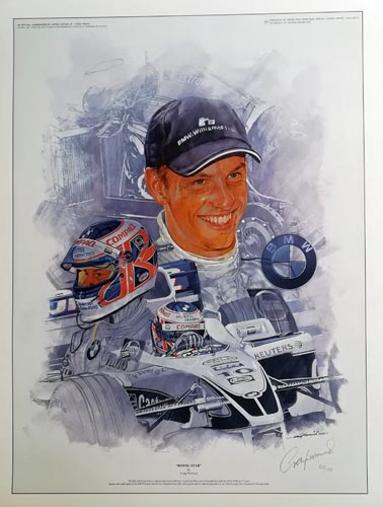 Jenson-Button-formular-one-motor-racing-memorabilia-BMW-Williams-poster-signed-artist-Craig-Warwick-Rising-Star--2000