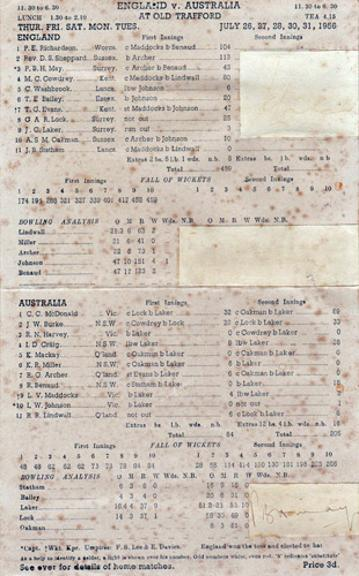 Jim-Laker-autograph-signed-1956-Old-Trafford-scoresheet-10-19-wickets-in-match-england-australia-ashes-cricket-memorabilia-Surrey-CCC-peter-may-signature