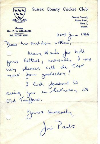 Jim-Parks-signed-Sussex-CCC-letter-head-350-cricket-memorabilia