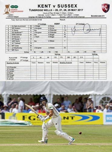 Joe-Denly-autograph-signed-kent-cricket-memorabilia-century-ton-gloucestershire-ccc-tunbridge-wells-week-signature-spitfires-testimonial-2019