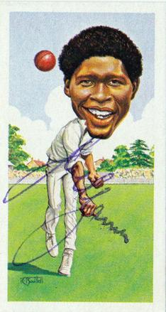 JOEL GARNER memorabilia signed West indies cricket memorabilia player card autograph