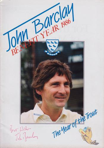 John-Barclay-autograph-signed-Sussex-CCC-Cricket-memorabilia-sharks-captain-benefit-brochure-testimonial-1986-year-of-the-trout