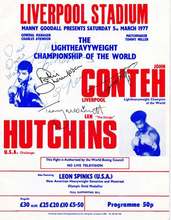 JOHN CONTEH hand-signed Title Fight boxing programme Liverpool FC players