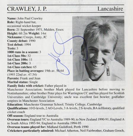John-Crawley-autograph-signed-lancashire-cricket-memorabilia-signature-england-batsman-1995-lancs-county-cricketers-whos-who-hampshire-creepy
