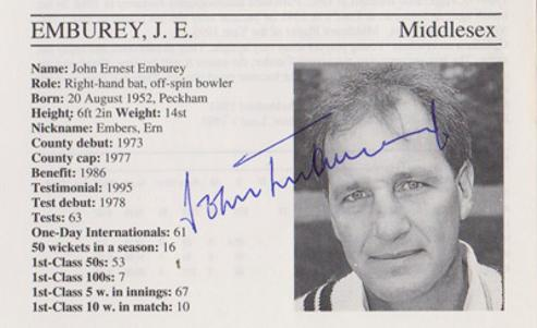 John-Emburey-autograph-signed-middlesex-cricket-memorabilia-signature-middx-ccc-embers-england-spinner-coach-1995-county-cricketers-whos-who